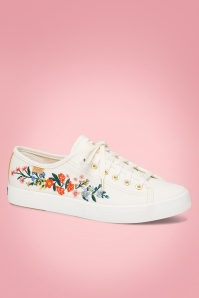 50s Rosalie Kickstart Floral Sneakers in Cream