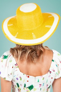 Vixen 27892 Hat Beach Sunhat 50s Lemon Yellow 20170704 005