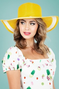 Vixen 27892 Hat Beach Sunhat 50s Lemon Yellow 20170704 003