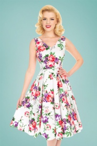 Hearts & Roses Molly Rose Swing Dress Années 50 en Blanc