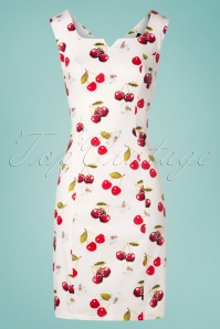 Hearts & Roses Sweet Cherry Floral Wiggle Dress Années 50 en Blanc