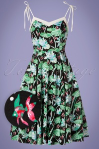 Hearts & Roses 50s Glorious Tropical Swing Dress in Black