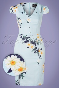 Hearts & Roses 50s Daisy Wiggle Dress in Vintage Blue
