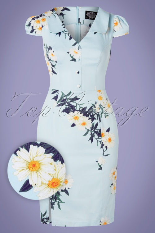 Hearts and Roses 28903 Blue Daisy Pencil Dress 20190315 001W1
