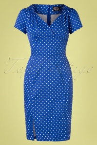 Hearts & Roses 50s Amelia Polkadot Wiggle Dress in Cobalt Blue