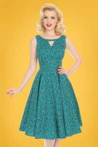 Hearts & Roses 50s La Dosa Dotty Swing Dress in Green