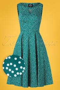 Hearts and Roses 29015 Green Polkadot Swing Dress 20190315 005W1