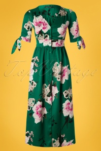 Wild Pony 70s Antonia Floral Midi Dress in Green
