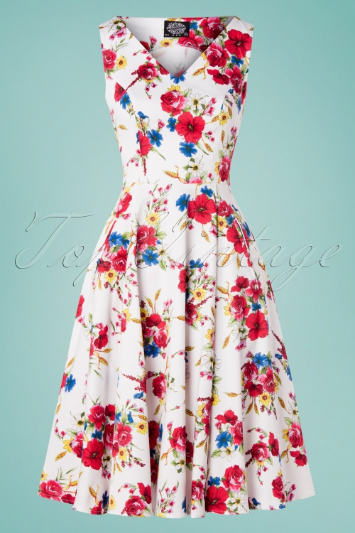 Hearts and Roses 29017 White Floral Swing Dress 20190315 001W