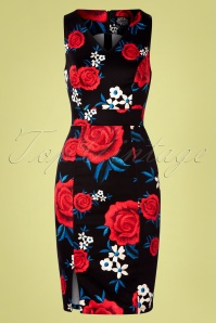 Hearts & Roses 50s Sylvia Floral Wiggle Dress in Black