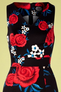 Hearts and Roses 28929 Black Floral Pencil Dress 20190315 001V