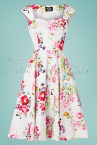 Hearts & Roses Rose Paradise Swing Dress Années 50 en Blanc