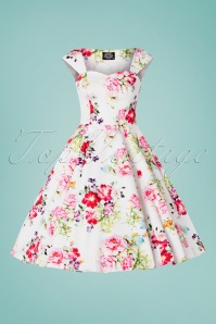 Hearts and Roses 29021 White Floral Swing Dress 20190315 001W