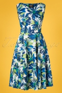 50s Aster Floret Swing Dress in Blue and White