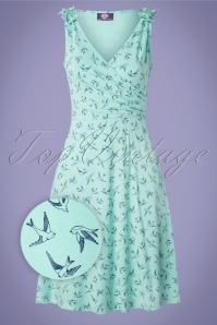 TopVintage Boutique Collection The Janice Swallow Dress Années 50 en Menthe et Bleu Marine