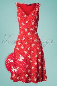 TopVintage Boutique Collection 50s The Janice Butterfly Dress in Red and White