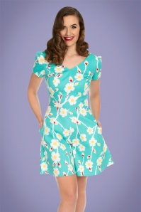 50s Fifi Floral Playsuit in Turquoise
