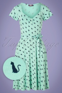 TopVintage Boutique Collection 50s The Frieda Cat Dress in Mint and Navy