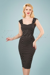 Jill Polka Dot Pencil Dress Années 50 en Noir