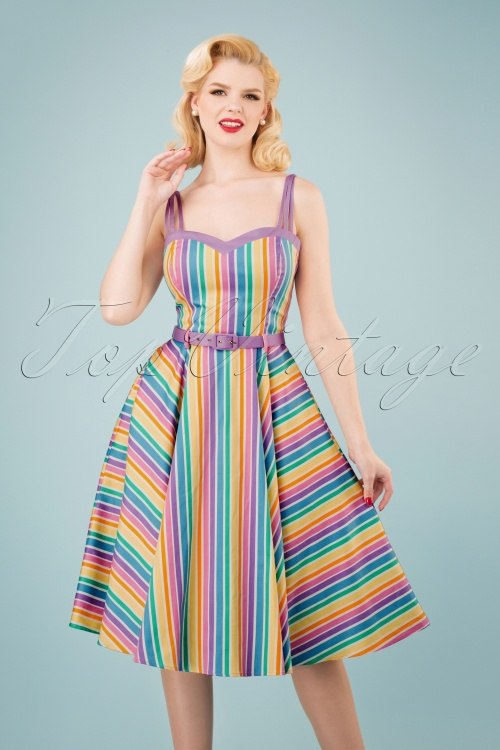 Collectif Clothing Nova Rainbow Stripes Swing Dress 102 59 23621 20180516 1W