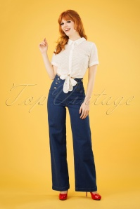 50s Sailor Denim Pants in Jet Blue