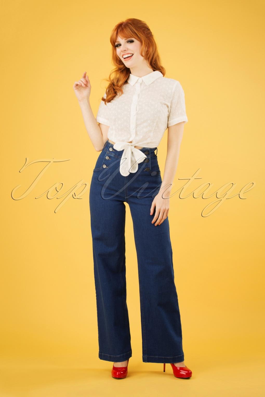 1950s Pants & Jeans- High Waist, Wide Leg, Capri, Pedal Pushers 50s Sailor Denim Pants in Jet Blue £86.29 AT vintagedancer.com