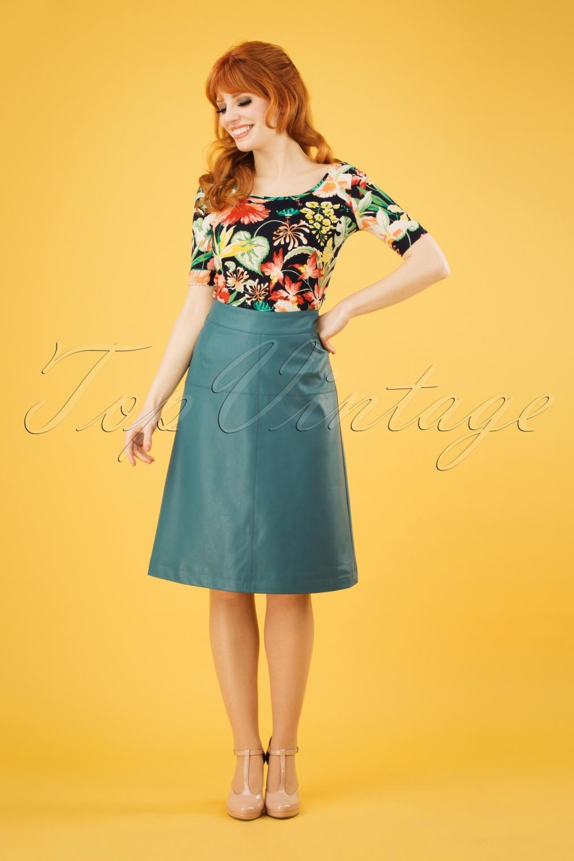 60s Skirts | 70s Hippie Skirts, Jumper Dresses 70s Amanda Skirt in Hydro Green £50.09 AT vintagedancer.com