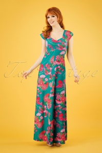 60s Sitges Birdy Maxi Dress in Jade