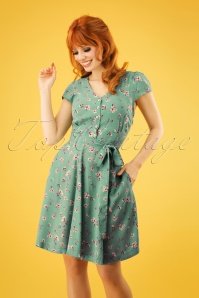 Louche 28140 Cathleen Fresia Green Swing Dress FLower 20190206 1W