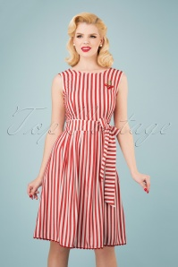 50s Pick A Cherry Dress in Red and White Stripes