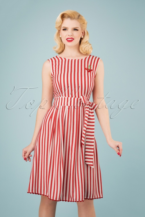 Mademoiselle Yeye 27065 Pick a Cherry Striped Dress 20190218 1W