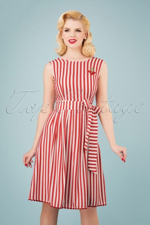 Mademoiselle Yeye 27065 Pick a Cherry Striped Dress 20190218 1W
