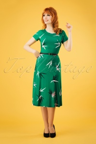 Mademoiselle YéYé 60s A Drink With Beth Dress in Bamboo Green