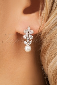50s Mae Crystal Clover and Pearl Earrings in Silver