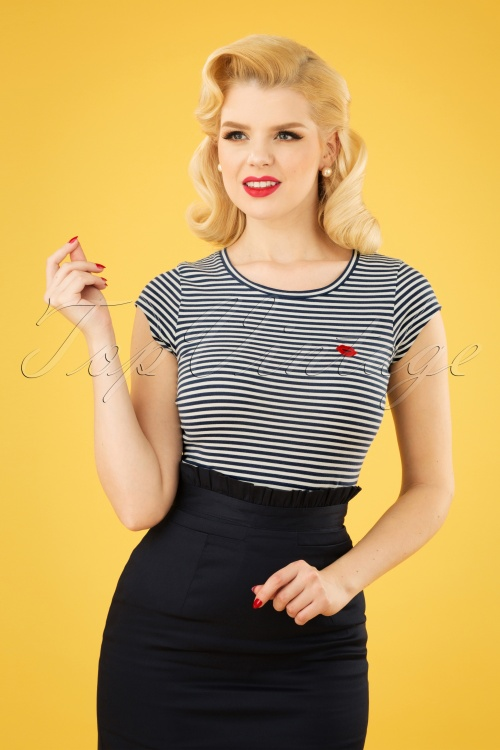 Mademoiselle Yeye 27056 Tshirt Casual Eleganze Blue Striped White Kiss Red 20190207 1W