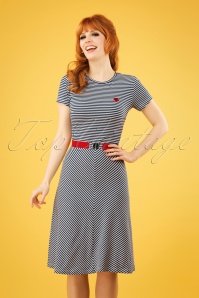 Mademoiselle YéYé 60s Oh Yeah Stripes Dress in Blue and White