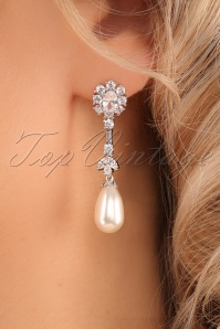 Lovely 20s Lillian Crystal and Teardrop Pearl Earrings in Silver