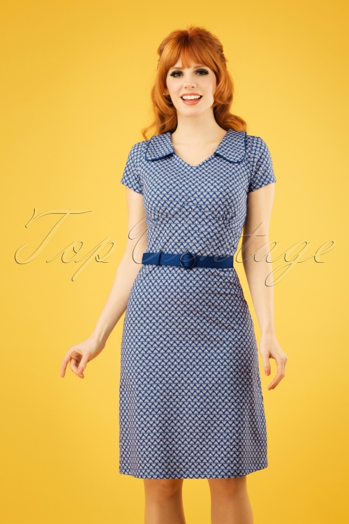 Mademoiselle Yeye 27076 Dress Vintage Mom Blue Belt 20190207 1W