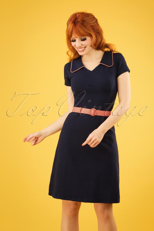 500 Vintage Style Dresses for Sale 60s Vintage Moments Dress in Denim Blue £90.61 AT vintagedancer.com