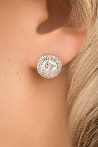 Elisabeth Crystal Round Stone Earrings Années 30 en Argenté