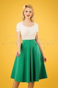 Boheme Gia Bow Swing Skirt Années 40 en Vert Émeraude