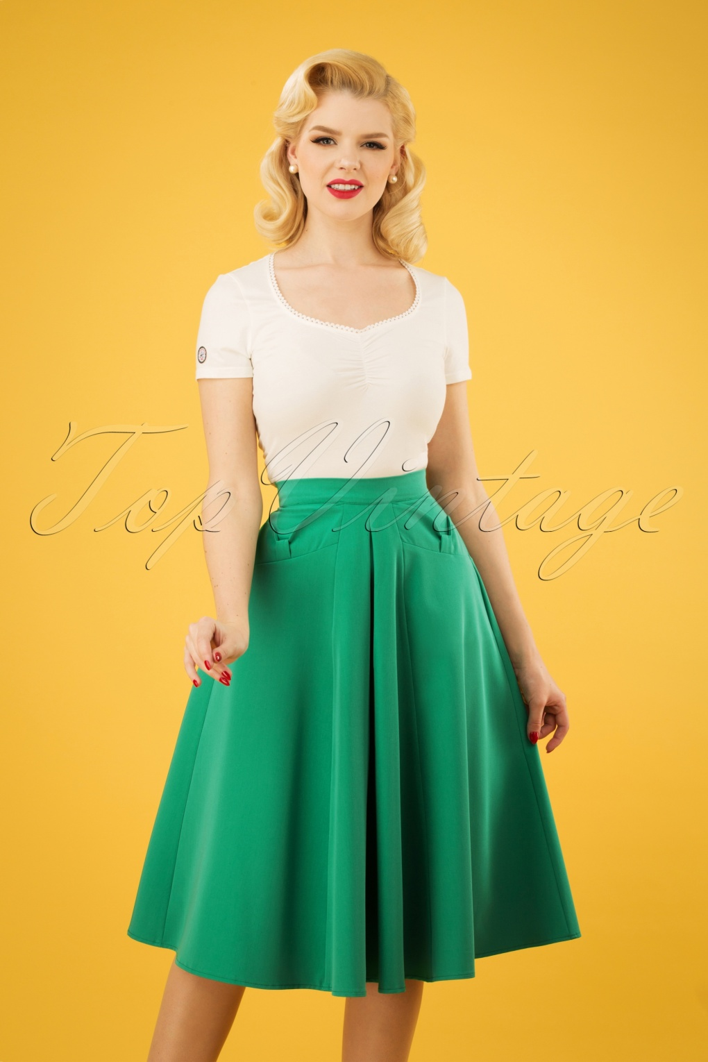 1940s Dresses and Clothing UK | 40s Shoes UK 40s Boheme Gia Bow Swing Skirt in Emerald Green £34.81 AT vintagedancer.com