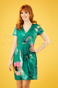 60s Okaina Floral Pencil Dress in Green