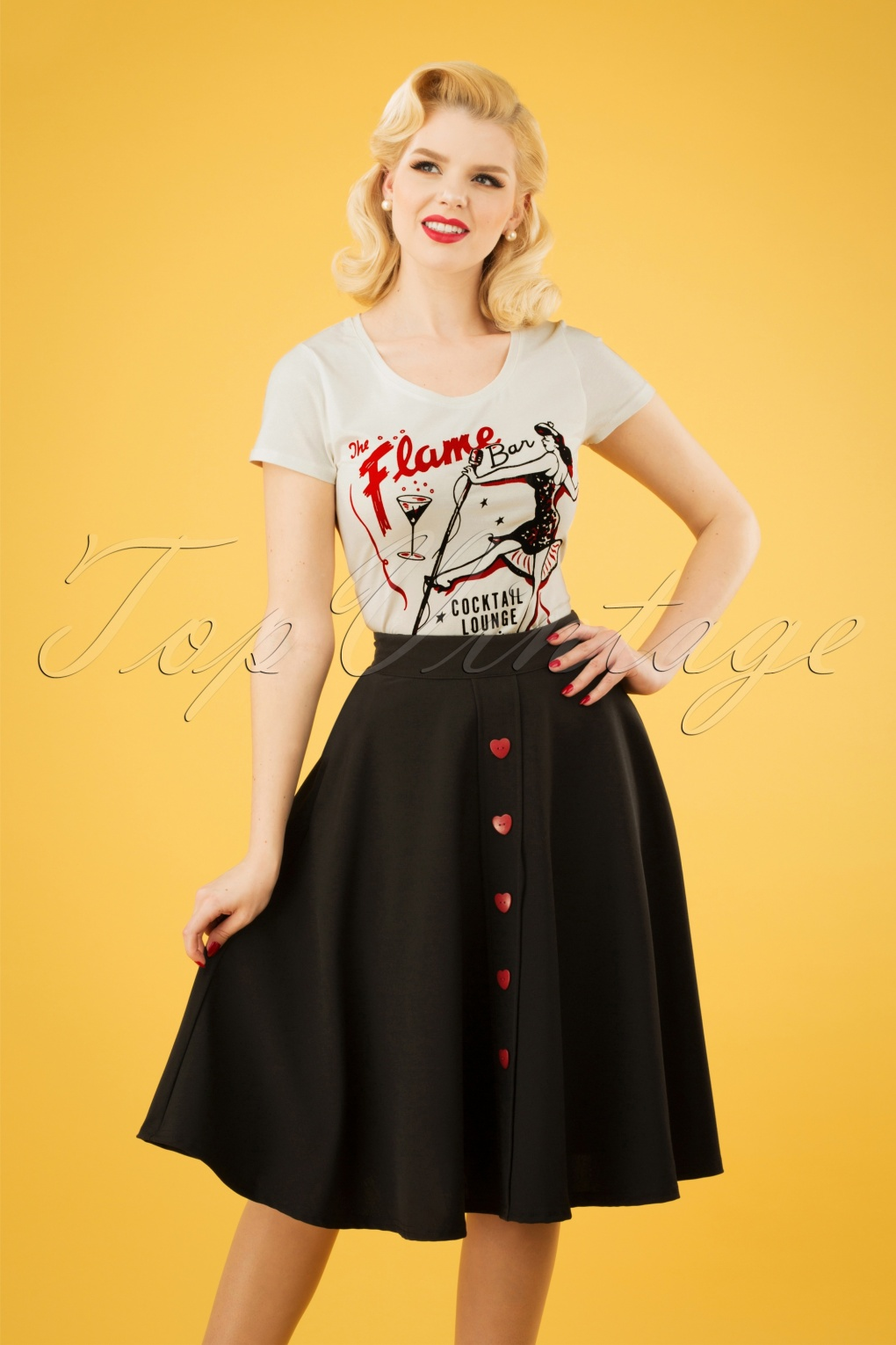 88e523c94 50s Be Still My Heart Thrills Swing Skirt in Black