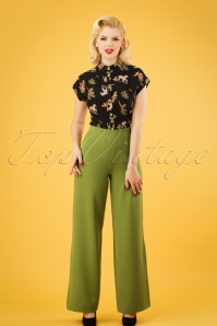 40s Marlene Pants in Olive Green