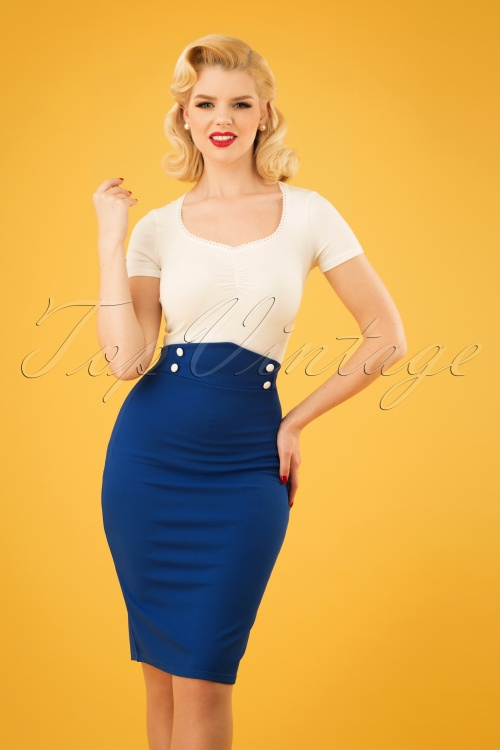 Vintage Chic 28731 Royal Blue Pencil Skirt 20190129 1W