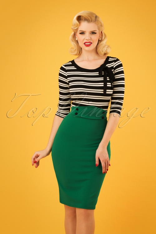 Vintage Chic 28732 Emerald Pencil Skirt 20190129 1W