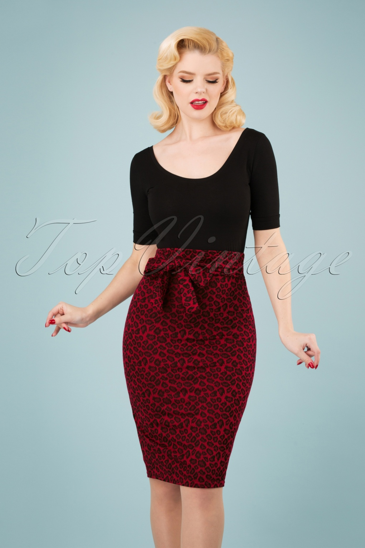 Retro Skirts: Vintage, Pencil, Circle, & Plus Sizes 50s Shana Leopard Pencil Skirt in Red �31.35 AT vintagedancer.com