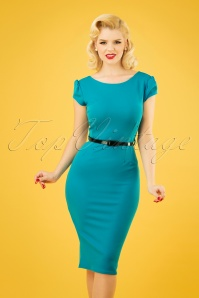 50s Tina Pencil Dress in Blue