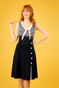 Vera Nautical Flared Sailor Dress Années 50 en Bleu Marine